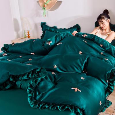 2020新款水洗真丝蕾丝花边款四件套 1.5m床单款 小蜜蜂-墨绿