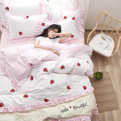 2020新款水洗真丝绣花床裙款四件套 1.8m床裙款 草莓-粉白