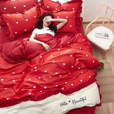 2020新款水洗真丝绣花床裙款四件套 1.8m床裙款 挚爱-红