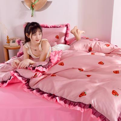 2020新款水洗真丝蕾丝花边款四件套 1.5m床单款 草莓-深粉