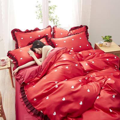 2020新款水洗真丝蕾丝花边款四件套 1.5m床单款 挚爱-红
