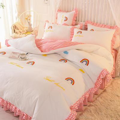 2020新款韩式水洗棉毛巾绣四件套 1.2m床裙款三件套 彩虹-粉白