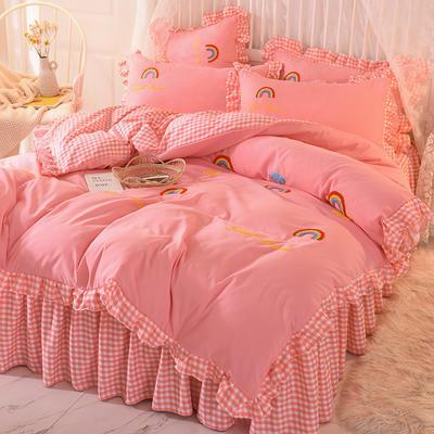 2020新款韩式水洗棉毛巾绣四件套 1.2m床裙款三件套 彩虹-粉色