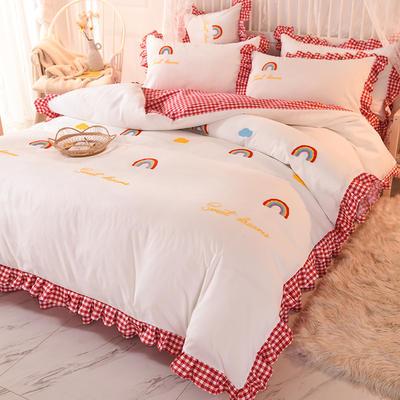 2020新款韩式水洗棉毛巾绣四件套 1.2m床裙款三件套 彩虹-富贵红