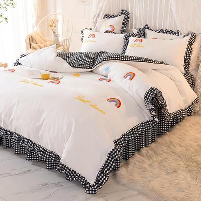 2020新款韩式水洗棉毛巾绣四件套 1.2m床裙款三件套 彩虹-黑白