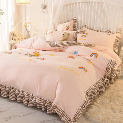 2020新款韩式水洗棉毛巾绣四件套 1.2m床裙款三件套 彩虹-玉色