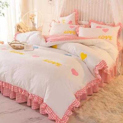 2020新款韩式水洗棉毛巾绣四件套 1.2m床裙款三件套 倾心-粉白
