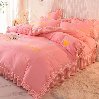 2020新款韩式水洗棉毛巾绣四件套 1.2m床裙款三件套 倾心-粉色