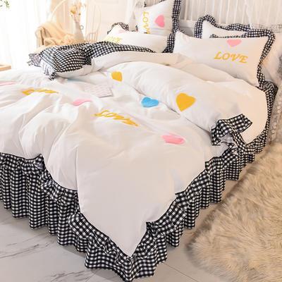 2020新款韩式水洗棉毛巾绣四件套 1.2m床裙款三件套 倾心-黑白