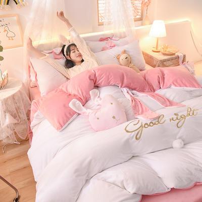 2020新款韩式水晶绒兔耳朵系列四件套 1.2m床单款三件套 萌兔白粉