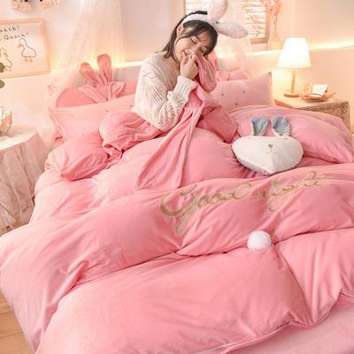 2020新款韩式水晶绒兔耳朵系列四件套 1.2m床单款三件套 萌兔粉色
