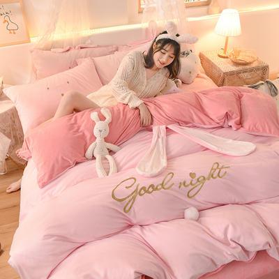 2020新款韩式水晶绒兔耳朵系列四件套 1.2m床单款三件套 萌兔粉玉