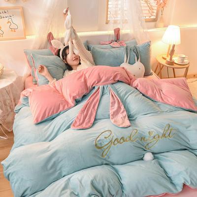 2020新款韩式水晶绒兔耳朵系列四件套 1.2m床单款三件套 萌兔蓝玉