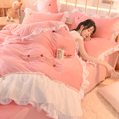 2020新款韩式水晶绒绣花雪纺纱四件套-倾城系列 1.5m床单款四件套 倾城-粉色