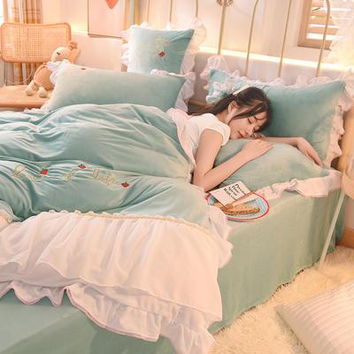 2020新款韩式水晶绒绣花雪纺纱四件套-倾城系列 1.2m床单款三件套 倾城-慕蓝