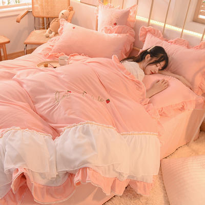 2020新款韩式水晶绒绣花雪纺纱四件套-倾城系列 1.8m床单款四件套 倾城-玉色