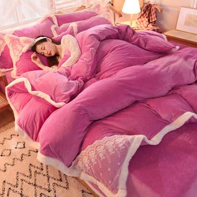 2020新款韩式网红水晶绒保暖四件套-公主 1.5m床单款四件套 姹紫