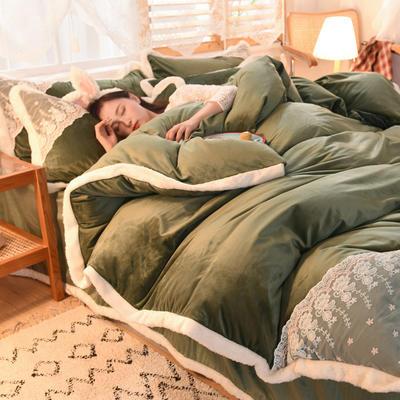 2020新款韩式网红水晶绒保暖四件套-公主 1.5m床单款四件套 翠绿