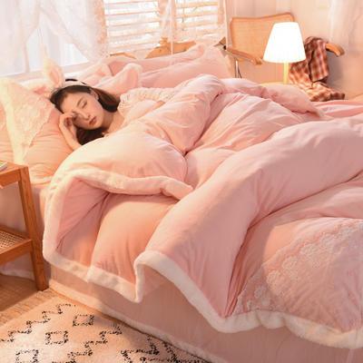 2020新款韩式网红水晶绒保暖四件套-公主 1.8m床单款四件套 粉玉