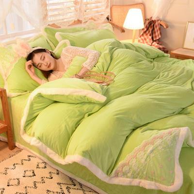 2020新款韩式网红水晶绒保暖四件套-公主 1.5m床单款四件套 果绿