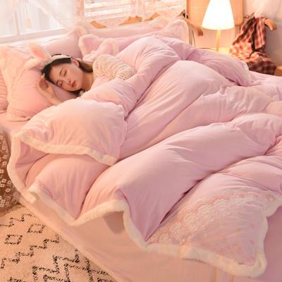 2020新款韩式网红水晶绒保暖四件套-公主 1.5m床单款四件套 浅粉