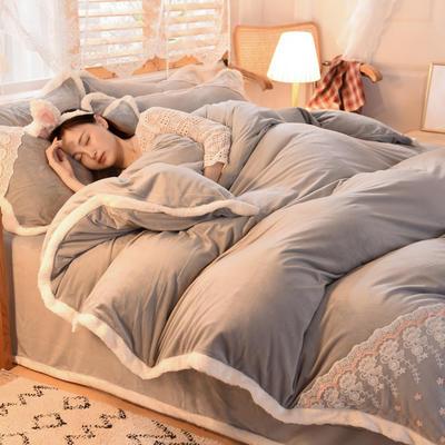 2020新款韩式网红水晶绒保暖四件套-公主 1.5m床单款四件套 浅灰