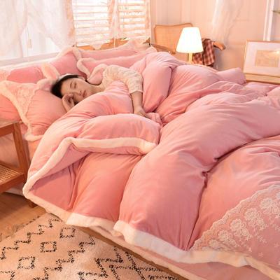 2020新款韩式网红水晶绒保暖四件套-公主 1.5m床单款四件套 深粉