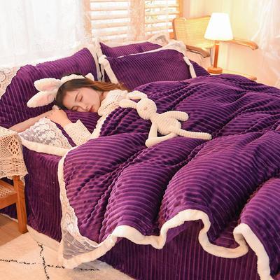 2020新款双面魔法绒四件套 2.0m床单款四件套 高贵紫