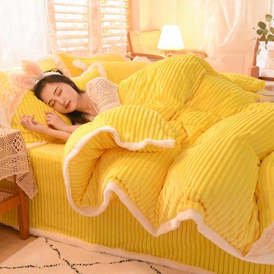 2020新款双面魔法绒四件套 1.2m床单款三件套 柠檬黄