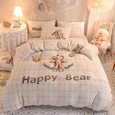 2020新款毛巾绣牛奶绒+萌熊系列四件套 1.5m床单款四件套 快乐熊-格调