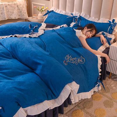 2021新款-潮蝴蝶结系列四件套 1.2m床单款三件套 宝蓝