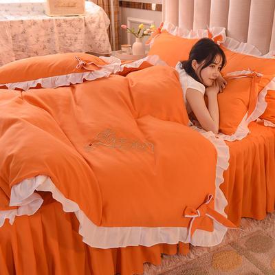 2021新款-潮蝴蝶结系列四件套 1.2m床单款三件套 蜜橙