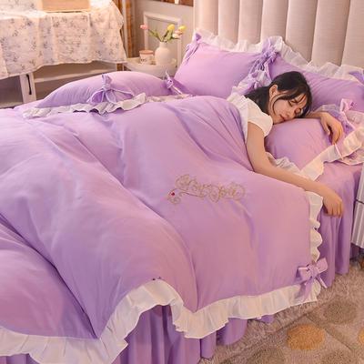2021新款-潮蝴蝶结系列四件套 1.2m床单款三件套 浅紫
