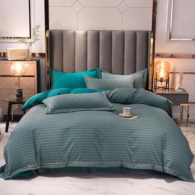 2021新款水洗棉印花AB版千鸟格系列四件套 1.5m床单款四件套 孔雀蓝