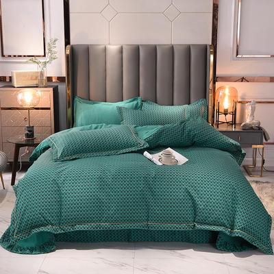 2021新款水洗棉印花AB版千鸟格系列四件套 1.5m床单款四件套 松石绿
