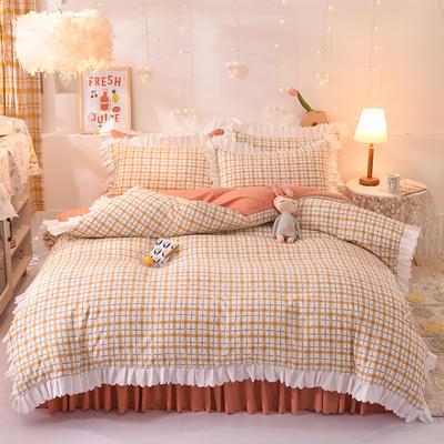 2021新款水洗棉印花格子床裙款四件套 1.5m床裙款四件套 国色天香
