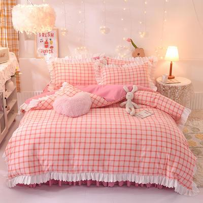 2021新款水洗棉印花格子床裙款四件套 1.5m床裙款四件套 似水柔情