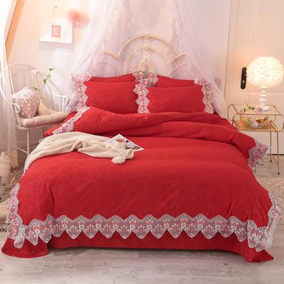 2021新款水洗棉韩版蕾丝四件套(玫瑰秘密系列) 1.2m床单款三件套 玫瑰秘密-大红