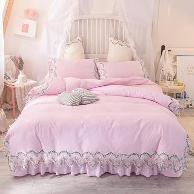 2021新款水洗棉韩版蕾丝四件套(玫瑰秘密系列) 1.2m床单款三件套 玫瑰秘密-粉