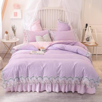 2021新款水洗棉韩版蕾丝四件套(玫瑰秘密系列) 1.8m床单款四件套 玫瑰秘密-紫粉