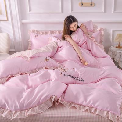 2021新款韩版AB版水洗真丝四件套(幸福花系列) 1.2m床单款三件套 幸福花-粉色