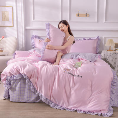 2021新款韩版AB版水洗真丝四件套(幸福花系列) 1.2m床单款三件套 幸福花-紫粉