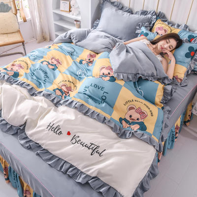 2021新款韩版水洗真丝卡通风床裙款四件套 1.5m床单款四件套 可爱熊