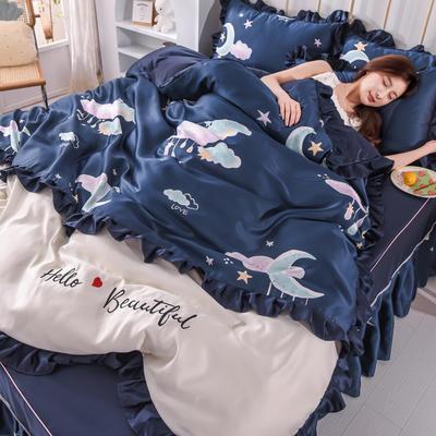 2021新款韩版水洗真丝卡通风床裙款四件套 1.5m床单款四件套 蓝月亮