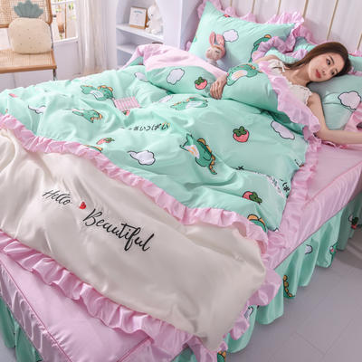 2021新款韩版水洗真丝卡通风床裙款四件套 1.8m床单款四件套 小恐龙
