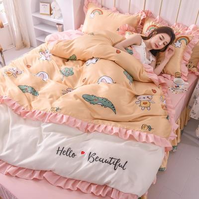 2021新款韩版水洗真丝卡通风床裙款四件套 1.5m床单款四件套 小奶牛