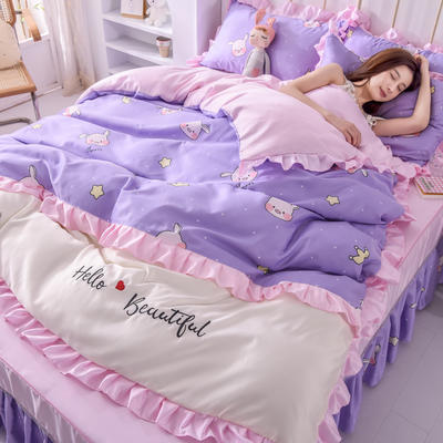 2021新款韩版水洗真丝卡通风床裙款四件套 1.5m床单款四件套 小淘气