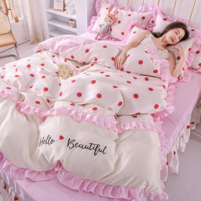 2021新款韩版水洗真丝卡通风床裙款四件套 1.8m床单款四件套 小圆点