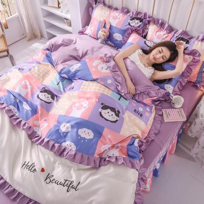 2021新款韩版水洗真丝卡通风床裙款四件套 1.8m床单款四件套 小云朵