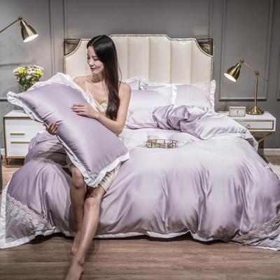 2021新款水洗真丝公主风蕾丝四件套 1.8m床单款四件套 典雅紫